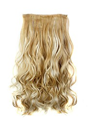 cheap -Clip In Hair Extensions Hairpiece 23inch 58cm 110g Curly Wavy Hair Extension Synthetic Heat Resistant  D1010 27H613#