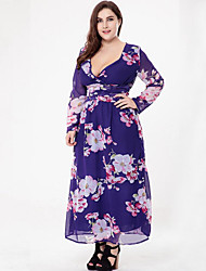 Women's Plus Size Boho Chiffon Dress,Print V Neck Maxi Long Sleeve Cotton Polyester Summer Mid Rise Micro-elastic Thin