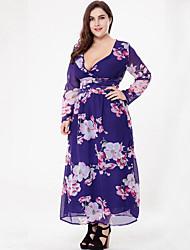 cheap -Women's Plus Size Boho Chiffon Dress Print Maxi V Neck