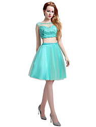 cheap -Ball Gown Two Piece Illusion Neckline Knee Length Tulle Cocktail Party Dress with Beading by Sarahbridal