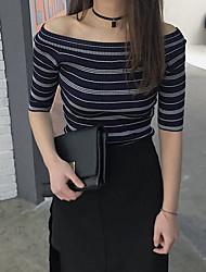 Sign Korean version of the new striped collar shirt leakage shoulder tight knit short-sleeved shirt female