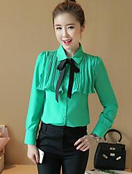 Bow chemise à manches longues femme 2017 printemps nouvelle chemise en mousseline de soie coréenne chemise petite chemise bas