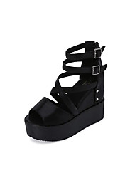 cheap -Women's Sandals Club Shoes PU Spring Summer Casual Dress Club Shoes Beading Buckle Wedge Heel Black Sliver 4in-4 3/4in