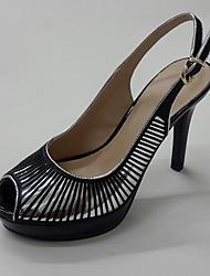 Feminino-Sandálias-Sapatos clube-Salto Agulha Plataforma-Prata/Black Preto e Prateado-Sintético Tecido-Escritório & Trabalho Social