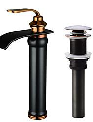 Недорогие -Современный По центру Водопад Керамический клапан Одной ручкой одно отверстие Начищенная бронза, Смеситель