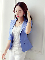 cheap -Women's Suits-Solid Colored Shirt Collar / Spring / Fall
