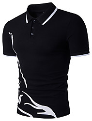 cheap -Men's Sports Active Cotton Slim Polo - Geometric Print Shirt Collar / Short Sleeve