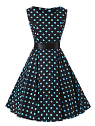 Women's Rockabilly Vintage DressBlack Blue Polka Dot Round Neck Knee-length Sleeveless Cotton All Seasons Mid Rise
