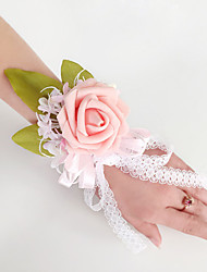 Wedding Flowers Free-form Roses Wrist Corsages Wedding Party/ Evening Pink / Purple / White Satin Lace