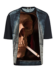 2017 European and American Personalized T-shirt printing M 3d perspective Amazon smoking skull burst models