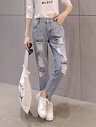 Sign bf hole jeans female fashion wind pantyhose significantly thin foot patch loose harem pants