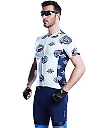 cheap -SANTIC Men's Short Sleeves Cycling Jersey with Shorts - Dark Blue Animal Bike Clothing Suits, Breathable, Sweat-wicking, Summer