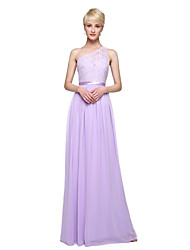 cheap -Sheath / Column One Shoulder Floor Length Chiffon Bridesmaid Dress with Appliques Sash / Ribbon Pleats by LAN TING BRIDE®