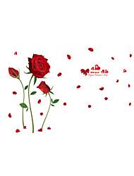 Desenho Animado Romance Floral Adesivos de Parede Autocolantes de Aviões para Parede Autocolantes de Parede Decorativos,Vinil Material
