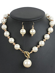 cheap -Women's Jewelry Set Euramerican Wedding Party Special Occasion Daily Pearl Round 1 Necklace 1 Pair of Earrings