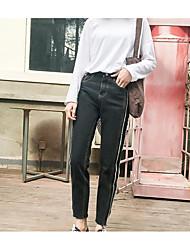 2017 Frühlingsmodelle echter Schuss Retro-Stil Doppel-Flash-Hafen verwaschene Jeans weibliche Studenten in neun gerade breiten Beinhosen
