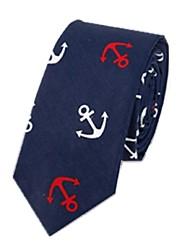 cheap -Men's Cotton Neck Tie,Casual Print All Seasons White Navy Blue