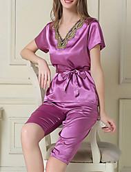 Недорогие -женский шелк& santin pajama, набор из двух частей фиолетовый белый розовый