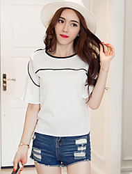 Знак твердых 2017 летом новый корейский моде темперамент рог рукав вокруг шеи шифона рубашка рубашки