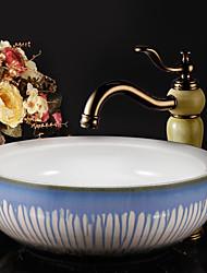 Antique Set de centre Séparé with  Soupape céramique 1 trou Mitigeur un trou for  Cuivre antique , Robinet lavabo