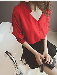 2017 весной и летом новый корейский вариант рыхлый v-образным вырезом белая рубашка женская шифона рубашка блузка приливом