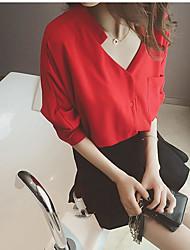2017 spring and summer new Korean version of loose V-neck white shirt female chiffon shirt blouse tide