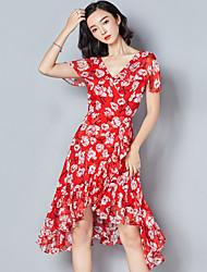 cheap -Women's Dailywear Classic & Timeless A Line Dress,Art Deco Round Neck Asymmetrical Short Sleeves N/A Summer High Waist Inelastic Medium