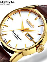 economico -Carnival Per uomo orologio meccanico Cinese Carica automatica Pelle Banda Vintage Casual Marrone