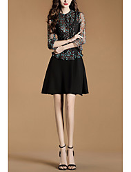 2017 spring new printing stitching lace sleeve dress false two A word skirt
