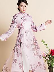 firmare nuova primavera cinese di stampa del vento allentate grandi cantieri organza femminile tè vestito dal cheongsam costume