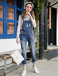 modo coreano selvaggio carino giocosi buche bretelle del college vento era sottili pantaloni cinghia denim marea femminile
