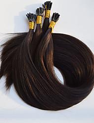 baratos -Queratina / Ponta I Extensões de cabelo humano Liso Cabelo Humano Marrom Escuro Vinho