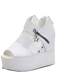 Недорогие -Для женщин Обувь Полиуретан Дерматин Весна Лето Осень Удобная обувь Обувь на каблуках На низком каблуке Круглый носок Открытый мыс