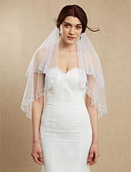Véus de Noiva Duas Camadas Véu Ponta dos Dedos Borda Enfeitada Tule Branco Marfim