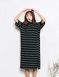 Ample Tee Shirt Robe Femme Décontracté / Quotidien simple,Rayé Col Arrondi Midi Manches Courtes Coton Eté Taille Normale Micro-élastique
