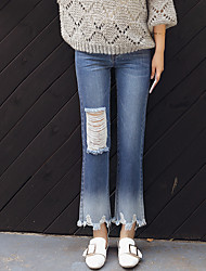 Sign new fashion irregular big holes in jeans female trousers straight jeans gradient tassels