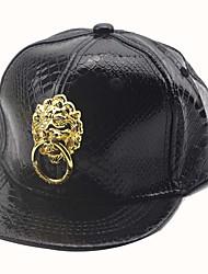 Children's Lovely Fashion Metal Lion Baseball Cap Hip-hop Cap  Duck Tongue Fur Hats