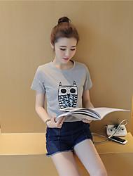 Лето короткий пункт новый корейский сова печать студент раздел был тонкий диких женщин моды&# 39; s t-shirt tide
