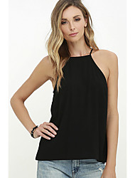 Women's Casual/Daily Club Office Party Sexy Summer T-shirt,Sexy Halter Sleeveless N/A Medium