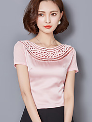 Sign 2016 summer new Korean Slim women large size bud mesh yarn was thin wild bottoming small shirt