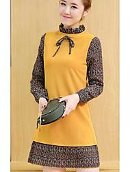 2017 весна новые корейские женщины поддельные два платья плиссированные шифон Zou сшивание длинные пункта платье