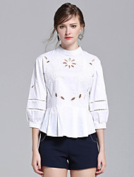 Women's Going out Casual/Daily Simple Street chic Spring Summer Shirt,Solid Stand ½ Length Sleeve Cotton Medium