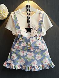 baratos -Infantil / Bébé Para Meninas Moda de Rua Floral Estampado Manga Curta Conjunto