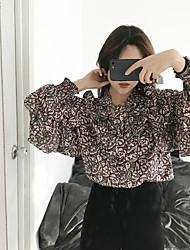 Sign ~ Korea seoul temperament flounced beam led floral print shirt