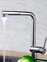 Contemporary Art Deco/Retro Modern Pull-out/­Pull-down Standard Spout Tall/­High Arc Deck Mounted Pullout Spray Thermostatic LED Ceramic
