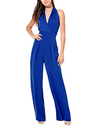 cheap -Women's High Rise Beach Party Jumpsuits,Sexy Wide Leg Backless Solid Summer