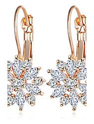 Hoop Earrings AAA Cubic Zirconia Alloy Flower Sunflower Gold Silver Jewelry Daily 1 pair
