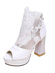 economico -Da donna-Stivaletti-Ufficio e lavoro Formale Serata e festa-Club Shoes-Quadrato-Tulle PU (Poliuretano)-Bianco Nero