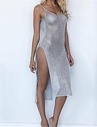 abordables -Femme Couleur Pleine Bandeau Vêtement couvrant Maillots de Bain Tresses au Crochet Or Argent