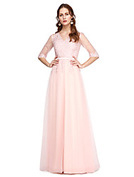 A-Line V-neck Floor Length Lace Tulle Prom Formal Evening Dress with Lace Pleats by TS Couture®